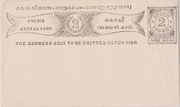 India, Princely State Cochin, Postal Card, Mint, Inde Indien Condition As Scan - Non Classés