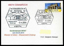 88221) BRD - SoST-Karte 06/047 - 49074 OSNABRÜCK Vom 6.4.2014 - Wasserwerk Düstrup, Wasser Ist Leben - [7] République Fédérale