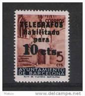 00499 AYUNTAMIENTO BARCELONA TELEGRAFOS EDIFIL 9 ** CAT. 53,- EUR - Barcelona