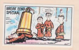 "D54301 Postcard QSL Amateur Radio ""Break Eend Special"" Large Bell Falling On Monk, Holland, KoKn, Poma Card 83/1318 - Radio-amateur"