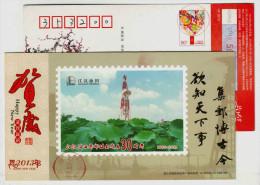 Oil Drilling Derrick,lotus Pool,China 2013 Jianghan Oilfield Philately Association  Advertising Pre-stamped Card - Oil