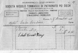 1918 FIRENZE SOCIETÀ NICCOLÒ TOMMASEO DI PATRONATO PER CIECHI - Italia