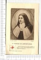 IMAGE  RELIQUE  -   Ste Thérèse De L Enfant Jésus  -   Etoffe Ayant Touché à La Sainte - Devotion Images