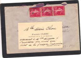 Yvert  278 B Bande Verticale De 3 Semeuse Cachet  Prades Pyrénées Orientales 1937 Sur Lettre Pour EV Avec Carte Visite - Francia