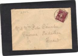 Yvert  189 Semeuse Cachet Perlé AGEL Hérault 1929 Sur Lettre Verso St Chinian - France