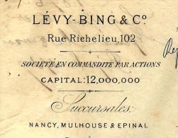 JUDAICA BANQUE FINANCE ENTETE LEVY BING PARIS NANCY MULHOUSE EPINAL 1876  V.DESCRIPTION SCANS+ HISTORIQUE - 1800 – 1899