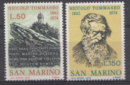 Saint-Marin Mi.nr.:1080-1081 Todestag Von Niccolò Tommaseo 1974 Neuf Sans Charniere / Mnh / Postfris - Neufs