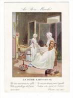 """GRAND  CHROMO  PUBLICITAIRE  """" AU  BON  MARCHE """" /  LA  MÈRE  LABORIEUSE  ( Fileuse De Laine, Chien ) /  Imp.  DRAEGER - Au Bon Marché"""