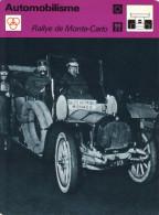 Fiche  -  Automobilisme  -  Rallye De Monte-Carlo 1912  -  Haren/Sure - De Dion Bouton - Automobile - F1
