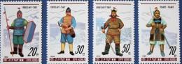 North Korea 1990 Ancient Korean Warriors Costumes Stamps Costume Martial Sword Shield Fencing Architecture - Fencing