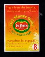 # PINEAPPLE DEL MONTE GOLD CALIBRE 8 Fruit Tag Balise Etiqueta Anhanger Ananas Pina Costa Rica - Fruits & Vegetables