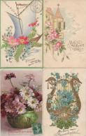 LOT De 4 Cartes FANTAISIES GAUFFREES  (verticales) - Fancy Cards