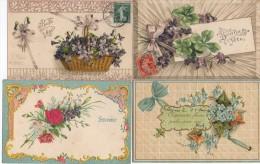 LOT De 4 Cartes FANTAISIES GAUFFREES  (horizontales) - Fancy Cards