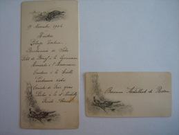 Belgique Menu 1904 Avec Carte De Table Pour Baronne De Rosen Faisants Chien De Chasse  Form. 8 X 17,30 Cm - Menus