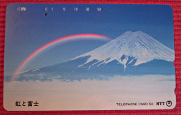 Telefonkarte Asien Japan NTT Vulkan Regenbogen Berge Landschaft Telephone Card 1991 - Volcans