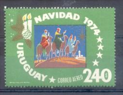 URUGUAY -  NAVIDAD NOEL CHRISTMAS 1974 - YVERT NR. AEREO 393 MNH TBE DIBUJANTE MEDINA IMPRENTA NACIONAL - Uruguay