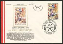 Österreich-  FDC    MI.Nr.   2052  100 Jahre Arbeitersportbewegung   2053  100. Geburtstag Von George Saiko - FDC