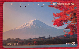 Telefonkarte Asien Japan NTT Vulkan Landschaft Berge Telephone Card 1989 - Vulcani