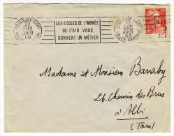 """Oblitération RVB - """" TOULOUSE-GARE / HAUTE-GARONNE / 22 JUIN 50 """" + """" LES ECOLES DE L'ARMEE / DE L'AIR """"  Sur YT 813 T1 - 1921-1960: Modern Period"""