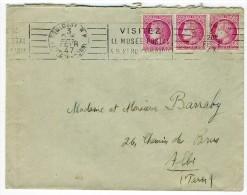 """Oblitération RVB - """" TOULOUSE RP / HAUTE-GARONNEE / 3 FEVR 47 """" + """" POUR PARIS METTEZ LE N° .... """"  Sur YT 679 X 3 - 1921-1960: Modern Period"""