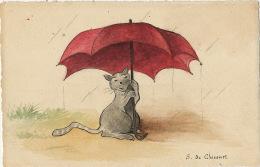 Carte Dessin Main Par S. De Chicourt Chat Gris S Abritant Sous Parapluie - Gatos