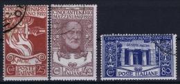 Italy: 1922. Mi 157-159  Sa 128-130 Used, - 1900-44 Victor Emmanuel III.