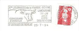 CACHET OBLITERATION ST LEONARD DE NOBLAT X° JOURNEES VIANDE BOVINE LIMOUSINE VACHE BOEUF FLAMME SUR ENVELOPPE 16X11 - Marcophilie (Lettres)