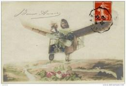 ENFANT-Fillette -en Avion,surréalisme - Szenen & Landschaften
