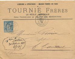 ENVELOPPE TYPE SAGE 15 C -LIQUEURS& SPIRITUEUX  TOURNIE FRERES  LA REOLE  BORDEAUX (gironde) - 1876-1898 Sage (Type II)