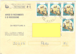 J337) AVVISO RICEVIMENTO AFFRANCATO CON CASTELLI IN TARIFFA - 1981-90: Storia Postale