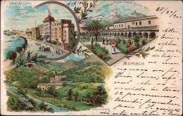 ! Litho Ansichtskarte Monaco , Hotel Bristol 1901 - Hotels