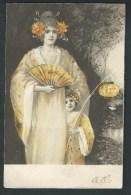 Femme à L'éventail Et Petite Fille Tenant Une Lampe. Très Belle Illustration. - 1900-1949