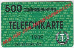 Telefontestkarte Der DDR Des Ministeriums Für Staatssicherheit 1989, 500 Einheiten, Unbenutzt, Nur Für Dienstgebrauch - Deutschland