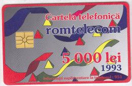 Telefonkarte Rumänien 5000 Lei, Unbenutzt, 1. Rumänische TK 1993, Bänder, Pyramiden - Rumänien