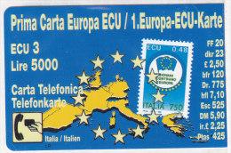 Telefonkarte Italien 5000 Lire - 3 ECU, Unbenutzt, 1. Europa-ECU-Karte - Italien