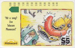Telefonkarte Australien 5 $, Unbenutzt, Cartoon: Bratwurst, Auto - Australien