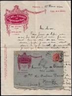 1930 LETTRE AVEC ENTÊTE * GRAND CAFE DE L'UNIVERS ET RESTAURANT HENRY GEVAUDAN * à NIMES + ENVELOPPE - France