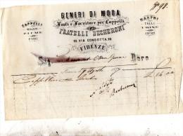1877   FATTURA  FIRENZE  -  GENERI DI MODA CAPPELLI VELLUTI - Italia