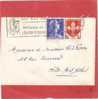 MULLER 20F + BLASON LILLE 5F SUR MIGNONETTE SIDI BEL ABBES  7/6/59    Tdc - Algeria (1924-1962)