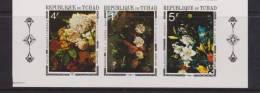 Chad Tchad 1971 Flower Painting Imperforate Strip 3 MNH Rubens Van Os Brueghel - Chad (1960-...)