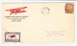 Flugpostbrief Sask-Lake Nach Quebec Mit 1 Cent Canada + 10 Cent CHERRY RED AIRLINE - Luftpost