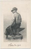 Carte Dessin De Gustave Mohler Artiste Nivernais Autographe Mort A Nevers 1920 Forgeron Enclume Salon 1912 - Nevers
