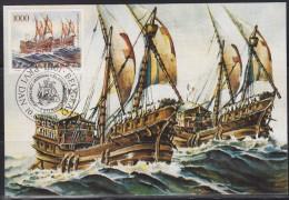 3700. Yugoslavia, 1989, Crusade Sailboat 13th Century, CM - Maximumkarten