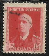 ALBANIA 1939 - 1940 15 Q USATO USED OBLITERE' - Occ. Allemande: Albanie