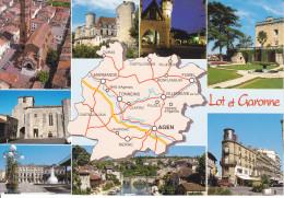 CPSM DEPARTEMENT CONTOUR GEOGRAPHIQUE LOT ET GARONNE 47 AS EN PARCOURANT LE 47 - Carte Geografiche