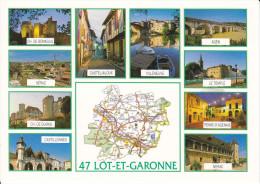 CPM DEPARTEMENT CONTOUR GEOGRAPHIQUE LOT ET GARONNE 47 CIM  CARTE ROUTIERE  PHOTOS ANGER - Carte Geografiche