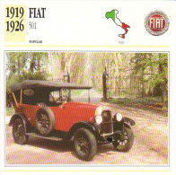 Fiche Auto  -  Fiat 501    -  1924  -  Carte De Collection - Voitures
