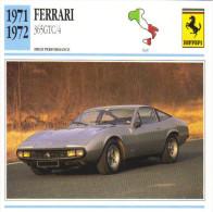 Fiche Auto  -  Ferrari 365GTC/4    -  1972  -  Carte De Collection - KFZ