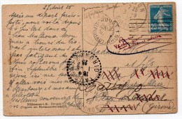 1925 - CP De MULHOUSE (HAUT RHIN) Pour VICHY -> REEXPEDIEE à LANTON Et à TAUSSAT (GIRONDE) - Marcophilie (Lettres)
