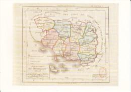 CPM DEPARTEMENT CONTOUR GEOGRAPHIQUE MORBIHAN 56 1 ERE CARTE DE SDEPARTEMENTS 1792 ED 1789 - Maps
